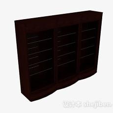 现代风格三门木质展示柜3d模型下载
