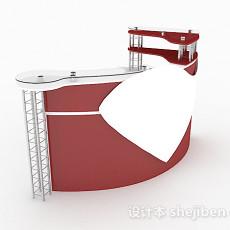 暗红色办公前台3d模型下载