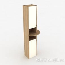 浅木色上下层镜面储物柜3d模型下载