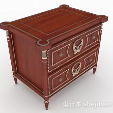 欧式复古棕色床头柜3d模型下载