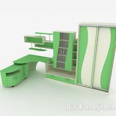 绿色衣柜组合3d模型下载