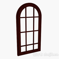 木质拱形窗3d模型下载