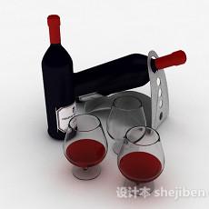 黑色瓶子包装红酒3d模型下载
