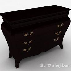 欧式黑色木质客厅储物柜3d模型下载
