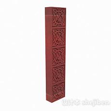枣红色木质雕刻摆件3d模型下载