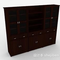 棕色大型木质储物展示柜3d模型下载