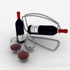 黑色瓶包装红酒3d模型下载