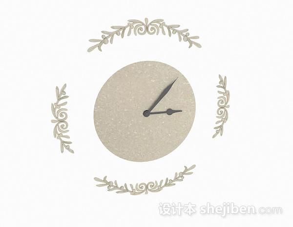 现代风格米白色时钟模型