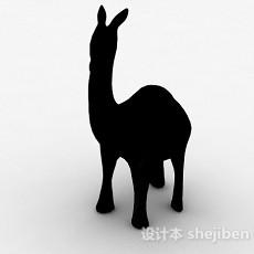 黑色羊驼雕刻品摆件3d模型下载