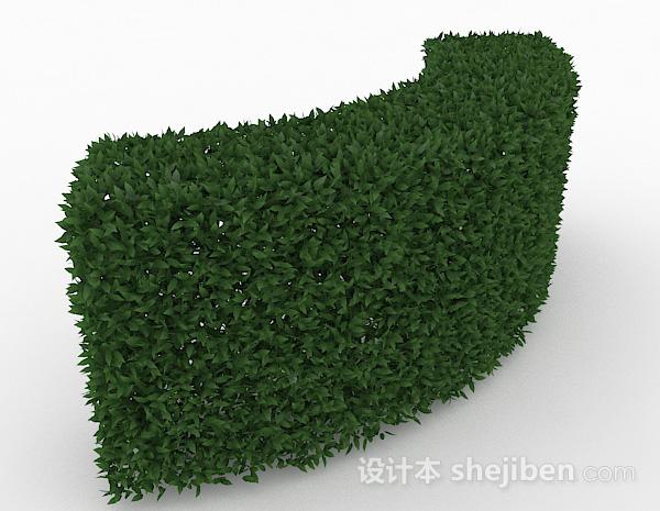 绿色树叶灌扇形造型