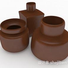 现代风格棕色瓷器瓶3d模型下载