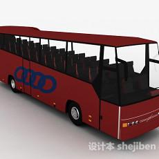 红色高级巴士车3d模型下载