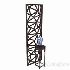 深棕色单门镂空隔断3d模型下载