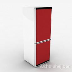 红色冰箱3d模型下载