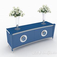 蓝色家居柜子3d模型下载