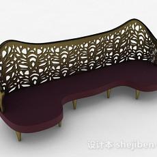 红色多人沙发3d模型下载