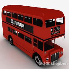 红色双层巴士车3d模型下载