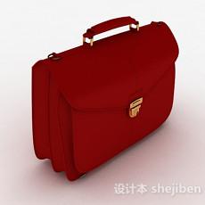 红色皮质手提包3d模型下载