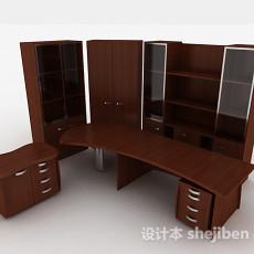 棕色木质书柜3d模型下载