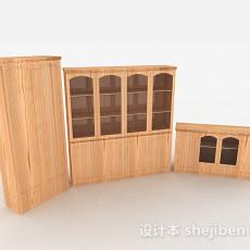 黄色木质家居柜子组合3d模型下载