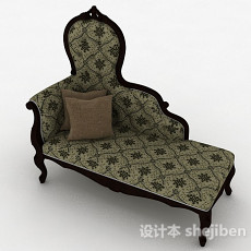 欧式布艺单人沙发3d模型下载