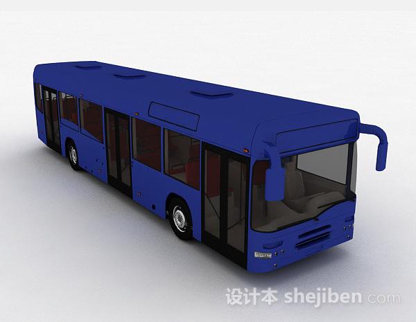 现代风深蓝色巴士车