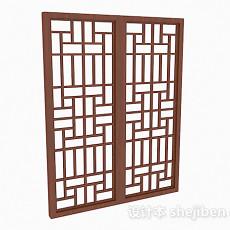 枣红色镂空木质推拉门3d模型下载