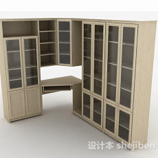 浅棕色家居书柜3d模型下载