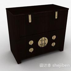 中式风格黑色木质床头柜3d模型下载