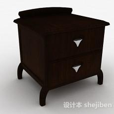棕色木质双层床头柜3d模型下载
