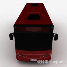 红色巴士车3d模型下载