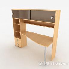 黄色木质书桌柜组合3d模型下载