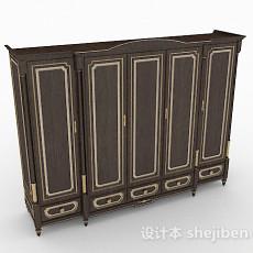 欧式棕色木质衣柜3d模型下载