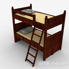 棕色木质双层单人床3d模型下载