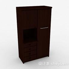 棕色立体卧室衣柜3d模型下载