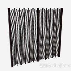 黑色双门折叠式屏风3d模型下载