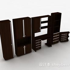 棕色家居衣柜组合3d模型下载