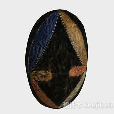 黑色花纹面具3d模型下载