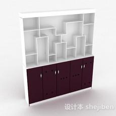 紫色木质客厅展示柜3d模型下载