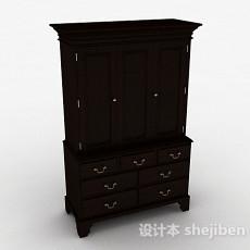中式风格黑色木质衣柜3d模型下载