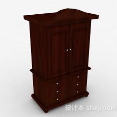棕色木质双层柜3d模型下载