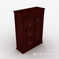 欧式家居木质玄关柜3d模型下载