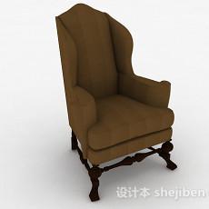 欧式棕色布艺家居椅3d模型下载