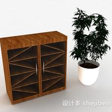 棕色简约木质鞋柜3d模型下载