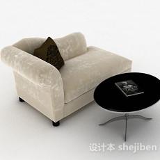 米白色单人布艺沙发3d模型下载
