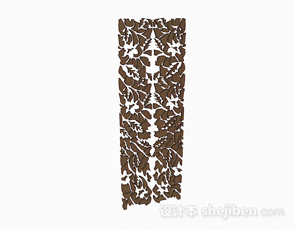 棕色木质镂空雕花隔断
