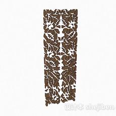 棕色木质镂空雕花隔断3d模型下载