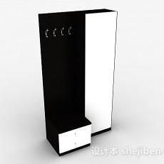黑白双色卧室衣柜3d模型下载