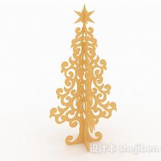 黄色镂空花纹圣诞树3d模型下载