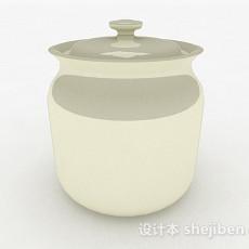 现代风格纯白陶瓷瓦罐3d模型下载